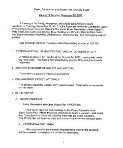 Icon of 9. Parks & Rec Board Meeting - November 2017 Minutes