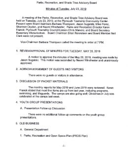 Icon of 4. Parks & Rec Board Meeting - July 2019 Minutes
