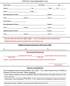 Icon of Teen Camp Registration Form 2020