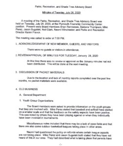 Icon of Parks And Recreation Board Minutes July 28, 2020