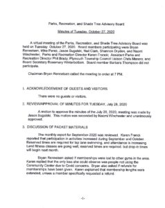 Icon of Parks & Recreation Board Minutes October 2020