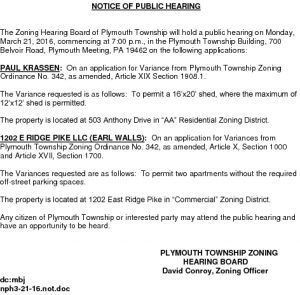 Icon of 3. Zoning Hearing Board - March 21, 2017