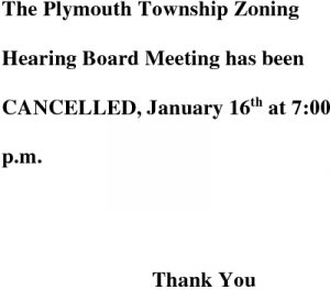 Icon of *Zoning Hearing Board - January 2016 Cancellation
