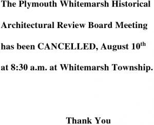 Icon of Historical Architectural Review Board August 10 Cancellation