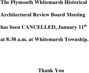 Icon of Historical Architectural Review Board January 11 Cancellation