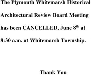 Icon of Historical Architectural Review Board June 8 Cancellation