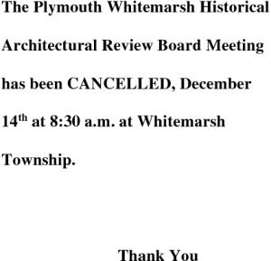 Icon of Historical Architectural Review Board December 14 Cancellation